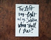 SALE! Bible Quote, Whom Shall I Fear, Psalms Quote, Bravery, Typography Print, Hand lettered Quote, 5x7 Print