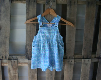 SALE! Vintage Blue & Green Floral Romper Size Small by Gymboree
