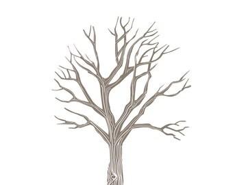 Digital print tree fingerprint family tree DYI family activity kids