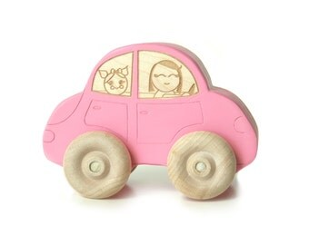 Wood toy car pink car toddler kids girl mommy mom driving car fun cool