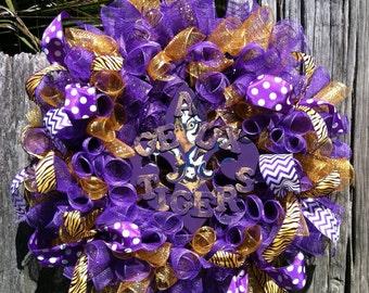 LSU Wreath, Wreath, LSU Decor, Geaux Tigers, LSU Wedding, Bridal Shower Decor, Bridal Shower Gifts