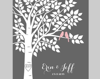 Guest Book Tree Guestbook Alternative Personalized Wedding Signature Print - 16x20 - 125 Signature Keepsake Guestbook Poster