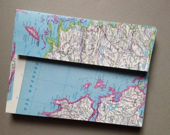 "Map Envelopes - Size A7 - World Atlas Map Envelopes (5 1/4"" x 7 1/4"") Upcycled Map Envelopes"
