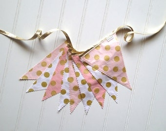 Metallic Gold, Pink, and White Pennant Fabric Banner - Bunting, Party Decoration, Photo Prop