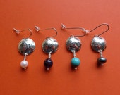 Hammered Silver Dome Drop Earrings with semi-precious beads