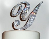 Monogram cake topper - Swarovski crystal wedding cake topper