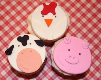 Fondant cupcake toppers Farm Animals  Pig Chick Cow