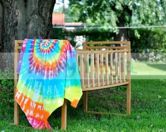 Tie Dye Flannel Baby Rainbow Spiral Receiving Blanket Hippie Psychedelic
