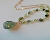 SALE Moss Aquamarine, Tourmaline and Peridot Gemstone Wire Wrapped Necklace on 14kt Gold Fill