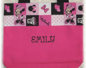 Minnie Mouse or Tweety Bird personalized birthday gift idea spring break preschool daycare hot pink canvas tote kids book bag little girl