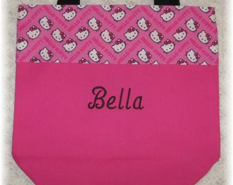 Hello Kitty personalized tote bag preschool daycare pre-k hot pink canvas kids library book bag little girl birthday flower girl gift idea