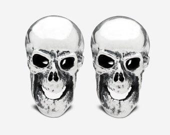 Sterling Silver Frontal Skull Cufflinks