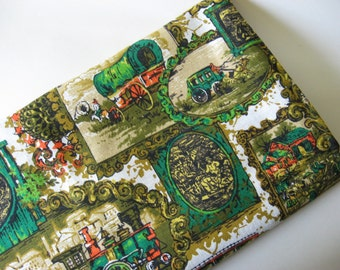 Stagecoach colonial frontier theme vintage barkcloth for Train themed fabric