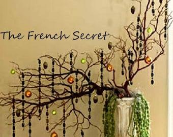 Halloween BLACK CRYSTAL Garland Decoration Ornament Tree Decor Retro Vintage Style Feather Tree Centerpiece