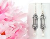 Art Nouveau Earrings - Silver Art Nouveau Jewelry -  Antiqued Silver Flowers and Pearl Dangle Petite Earrings