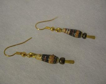 Paper bead dangle earrings- Handmade paper bead jewelry