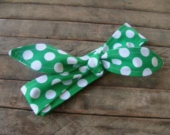 Headband Green Polka Dots Teen Women Hair Accessory Headscarf