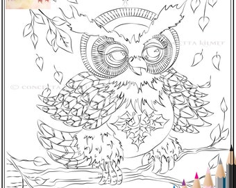 Owl Coloring Page - Adult Coloring Page - Owl Digi - Owl Download - Fall Coloring Page - Owl - Coloring  - Instant Download Coloring Page