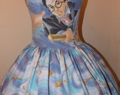 Harry Potter Cloak of Dreams flying on broom Custom Made to order Geekery Sweet Heart Halter ruffled mini Dress