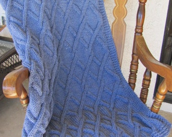 Hand Knitted Blanket OOAK Twisted Cable Denim Blue