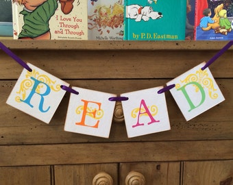 READ Banner and Garland - Help Inspire The Love Of Reading - Teacher Gift - Back To School - English Teacher