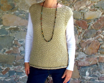 Sleeveless Sweater Vest Tank Top Handknit of Organic Cotton in Aloe