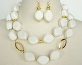 White Statement Necklace, Big Bold Chunky, Gemstone Necklace, Double Strand, Artisan Necklace & Earring Set