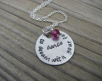 """Inspiration Necklace- """"dance to dream with your feet"""" with an accent bead in your choice of colors-  Dancing Quote Necklace"""