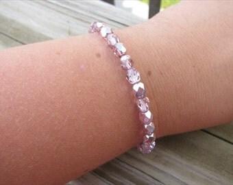 Layering Bracelet- Metallic Pink Beaded Bracelet