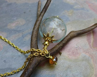 Dandelion Necklace, Real Dandelion Gold  Necklace ONLY- Make a Wish Gift, Birthday Gift, Wish Gift