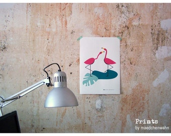 Two Flamingos print, Maedchenwahn Poster A3
