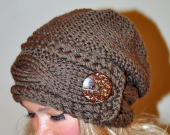 Slouchy Hat Slouchy Beanie Cable Button Hat Hand Knit Winter Women Hat CHOOSE COLOR Taupe Brown Milk Chocolate Fall Chunky Christmas Gift