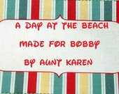 Quilt Label - Cabana Stripe Nameplate, Hand Embroidered & Custom Made
