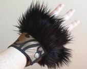 Black Fur Cuff Set - Festival - Steampunk