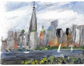 New York Skyline Freedom Tower 6x8 original acrylic landscape painting