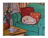 White Cat sleeping on green armchair, Relaxing Cushion Coffee Table cozy, Original illustration Artist Print Wall Art, Free Shipping in USA.