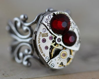 Steampunk Gift Ring Red Garnet Ring Watch Ring Unique Ring Filigree Ring Silver Ring Steampunk Jewelry Steam Punk Ring Adjustable Red Ring