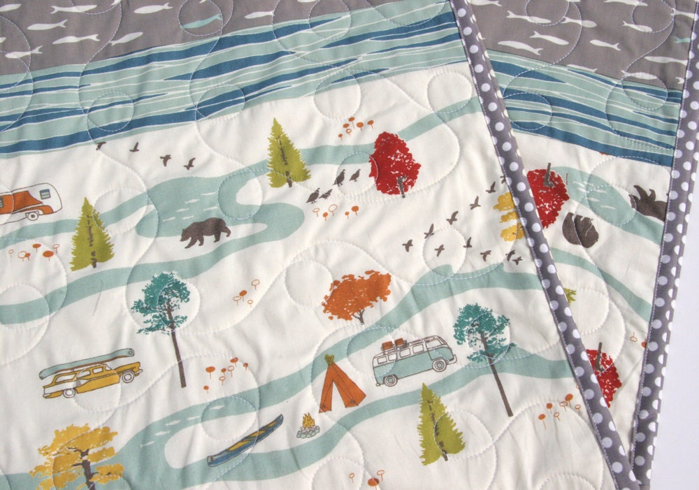 Fishing Baby Quilt Modern Baby Quilt Woodland Nursery