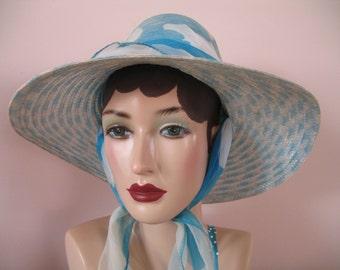 1960's Garden Hat, Turquoise Blue