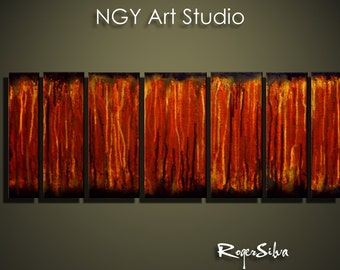 "NGY 23.5"" x 66 Modern Contemporary Abstract Metal Wall Sculpture Art"