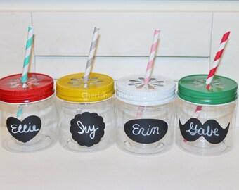 Plastic Mason Jars, Colored Daisy Lids, Wedding Table, 10 Plastic Jars w/ Daisy Cut Lids, Plastic Glasses, Kids Party Cups, Kids 8oz Favors