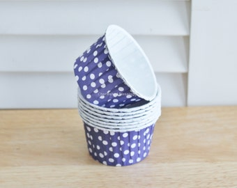 20 Cupcake Liners, Baking Cups, Nut Cups, Purple Polka Dots Kids Birthday Party Baby Shower Wedding Candy Nut Paper Goods