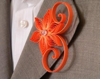 Tangerine Boutonniere, Neon Orange Buttonhole, Tangerine Wedding, Mens Wedding Boutonnieres