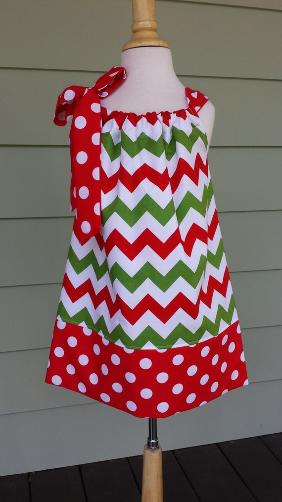 Christmas Girls Baby Pillowcase Dress In Red White By
