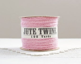 Jute Twine - 100 Yard Spool of Twine, 2-Ply Rustic Craft String, Light Pink
