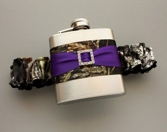 Camouflage FLASK GARTER -- Camo & Purple -- Bride or Bridemaid Garter with Flask -- Holiday Gift for Her -- Ready to Ship