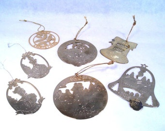 7 Silver Plated Christmas Ornaments Engraved Vintage 70s 80s