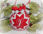 Personalized Christmas Ornament Quilted Snowflake Ornament red white