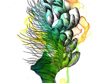 Element XIII archival digital print / mixed media painting / ink organic drawing / green / plants / scales / succulent / yellow