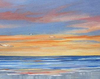 "Original Acrylic on Canvas Seascape Sunset Painting ""Sunset reflections"" 8 X 16"